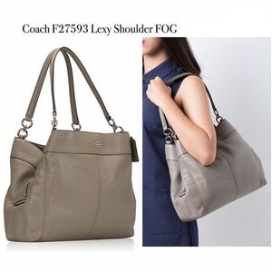 Coach Lexy Pebble Leather Hobo Tote - Fog - NWOT